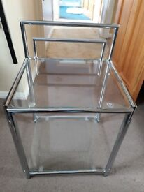 Chrome and glass bedside table