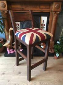 Solid Wood Union Jack Tall Chair