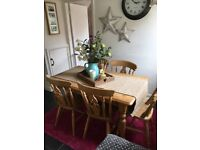 Pine Table and 7 Matching Chairs