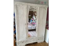 3 door French painted hanging wardrobe