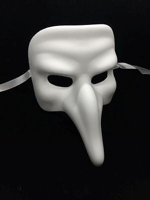 Unpainted Medieval Plague Doctor Blank Masquerade Mask - Cosplay Party DIY - Blank Masquerade Masks