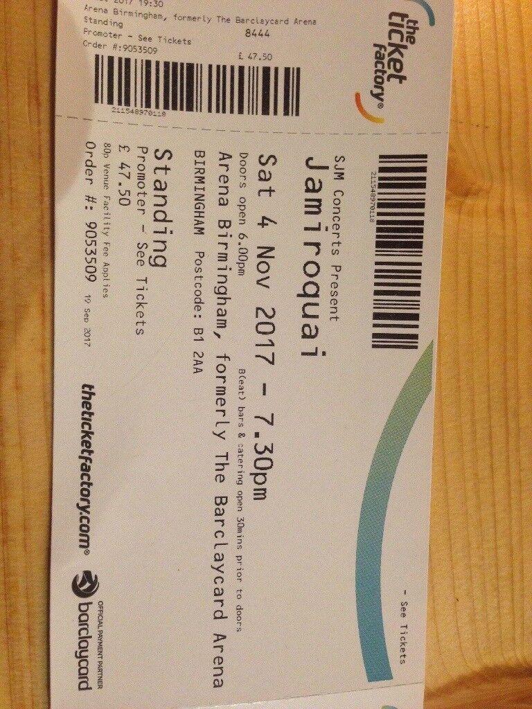 2 x jamiroquai standing tickets Birmingham arena 4th Nov 2017