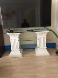 Glass top tv stand or side table