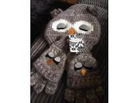New owl hat and glove set new with tags
