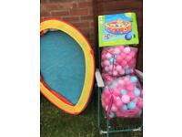 ELC pop up ball pit and 3x bags with balls