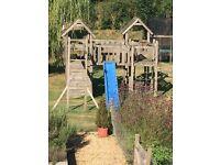 Used Large Wooden Climbing Frame, Slide, Swings & Monkey bars