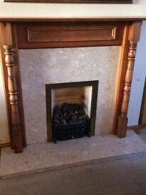 Fire surround (wooden mantle piece and marble surround)