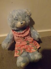 Build a bear workshop blue bear with outfit in excellent condition