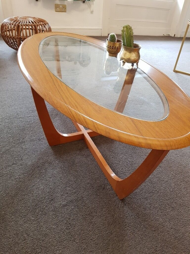 G-plan -style wood & glass oval coffee table   in York ...