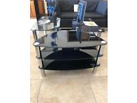 Black glass 3 tier stand 28""