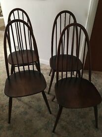 ERCOL QUAKER DINING CHAIRS X 4