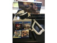 PlayStation PSVR Headset, Move controllers, VR camera, Aim controllers and 4 games