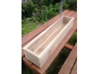 NEW WOODEN FLOWER PLANTER/WINDOW BOX, MANY SIZES/COLOURS, TREATED WOOD BOX