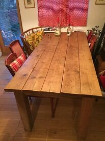 Large dining table from recycled wood