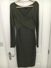 Miss Selfridge khaki fine knit midi dress generous size 12