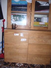 This is solid Pine 9 draw cabinet with glass door cabinet on top for sale