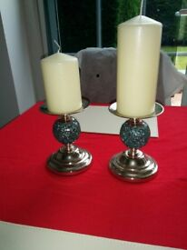new 2 turquoise glass mozaic candles stick holders and 70mm cream candles from john lewis