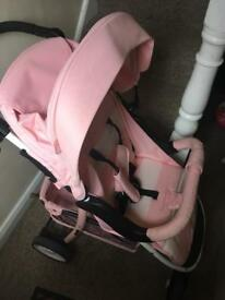 My Babiie MB30 pink and white pushchair