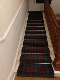 Stair and Landing Traditional Tartan Wool Carpet - Excellent Condition