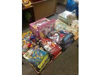 Toys and wrapped soft toys