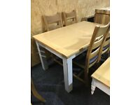 New exDisplay solid OAK top ,extendable table and four OAK chairs