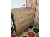 Nursery Furniture Set - Cot Bed, Wardrobe, Chest and Shelf - Very Good Condition