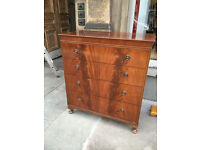 Chest of drawers , with 4 drawers . Lovely detail and original handles . Free local delivery.