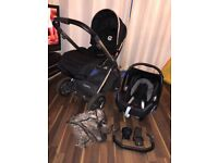 Oyster 2 Pram in black with chrome frame and car seat