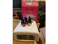 new UV Lamp 36Watt Gel Curing + 6 popular nail polish and top and base Shellac BLUESKY