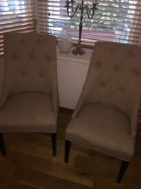 Pair of Beige studded button back chair with silver square knockers