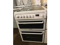 £130 HOTPOINT 60 CM WIDE WHITE ELECTRIC DOUBLE OVEN COOKER