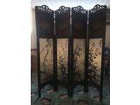 Folding Traditional Asian 4 Panel Room Divider Screen Privacy Wall Movable Partition Separator UK