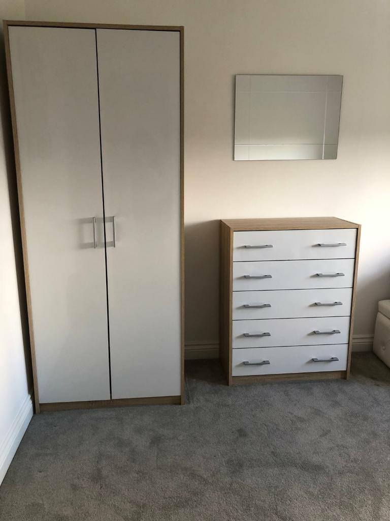 B Q Wardrobe Chest Of Drawers White Gloss