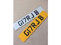 GURJ / GURJ B - G17 RJB private personalised personal registration number plate