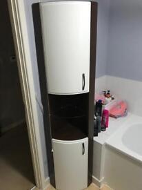 2x White corner freestanding / wall mountable bathroom cabinets