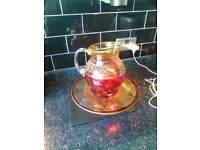 Glass cake stand and jug