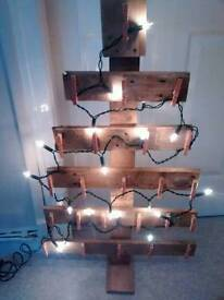 Wooden lit christmas tree