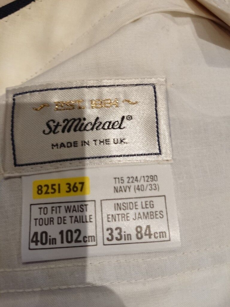 bde22698c05661 M&Smens trousers brand new 40/33 navy with faint pinstripe | in ...