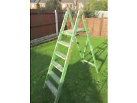 VINTAGE 6 TREAD, PAINT SPLATTERED, WOODEN STEP LADDERS