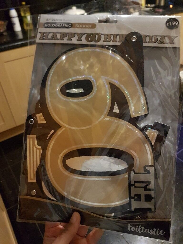 New In Packet Black And Silver 60th Birthday Decorations Banners