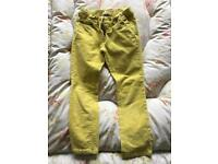 Mini Boden girls yellow cord trousers Age 6 years