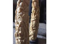 Aproxy resin Vintage Resin Faux Fake Carved Animals Rhino Elephant Tusk Horn Ornament pair 1930-40's