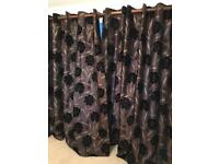Two pairs of 90 x 90 lined curtains (free black tassel tie backs)