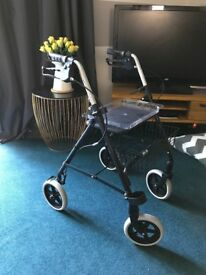 Mobility aid, 4 wheel walker with seat & basket - hardly used