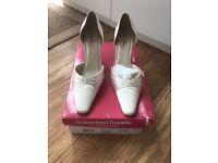 Genuine Rainbow wedding heels shoes ivory satin with genuine Swarovski crystals size 6