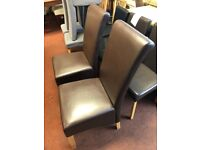 TWO Schreiber Chocolate leather dining chairs x display