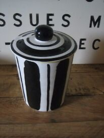 Storage jar by Mary Rose Young..Reckless designs 1995. Ceramic jar with lid. Lovely condition.