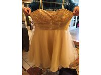 Gold sequined bust Cocktail Formal Dress
