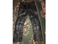 Frank Thomas Leather motorbike trousers size 32