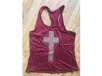 Burgundy vest top with cross detail size M/L